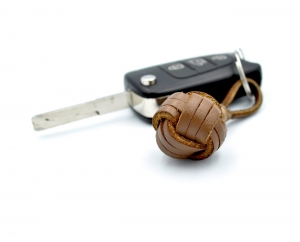 Monkey Ball Keychain - Genuine Leather Brown