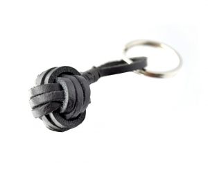 Monkey Ball Keychain - Genuine Leather Black